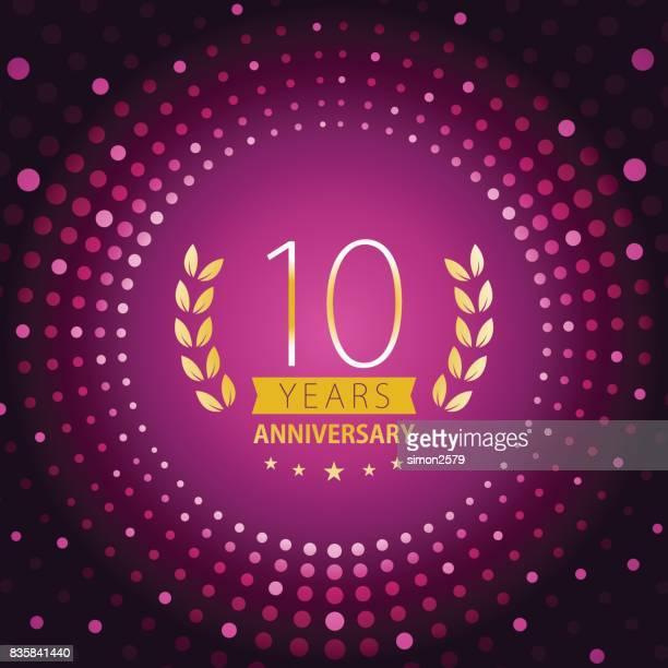 紫の色の背景を持つ 10 年周年記念アイコン - 10th anniversary点のイラスト素材/クリップアート素材/マンガ素材/アイコン素材