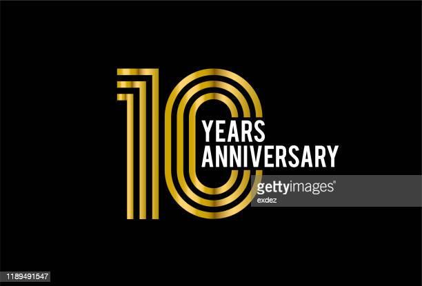 ten years anniversary - anniversary stock illustrations