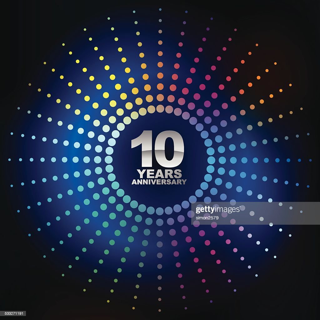 Ten years anniversary with blue background.