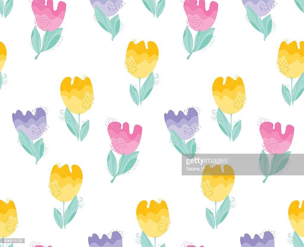 tender pastel color decorative tulip seamless pattern.