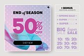 Tender Pastel Vector Sale Template with Flying Silk on Lilac Background with Polka Dot Pattern.
