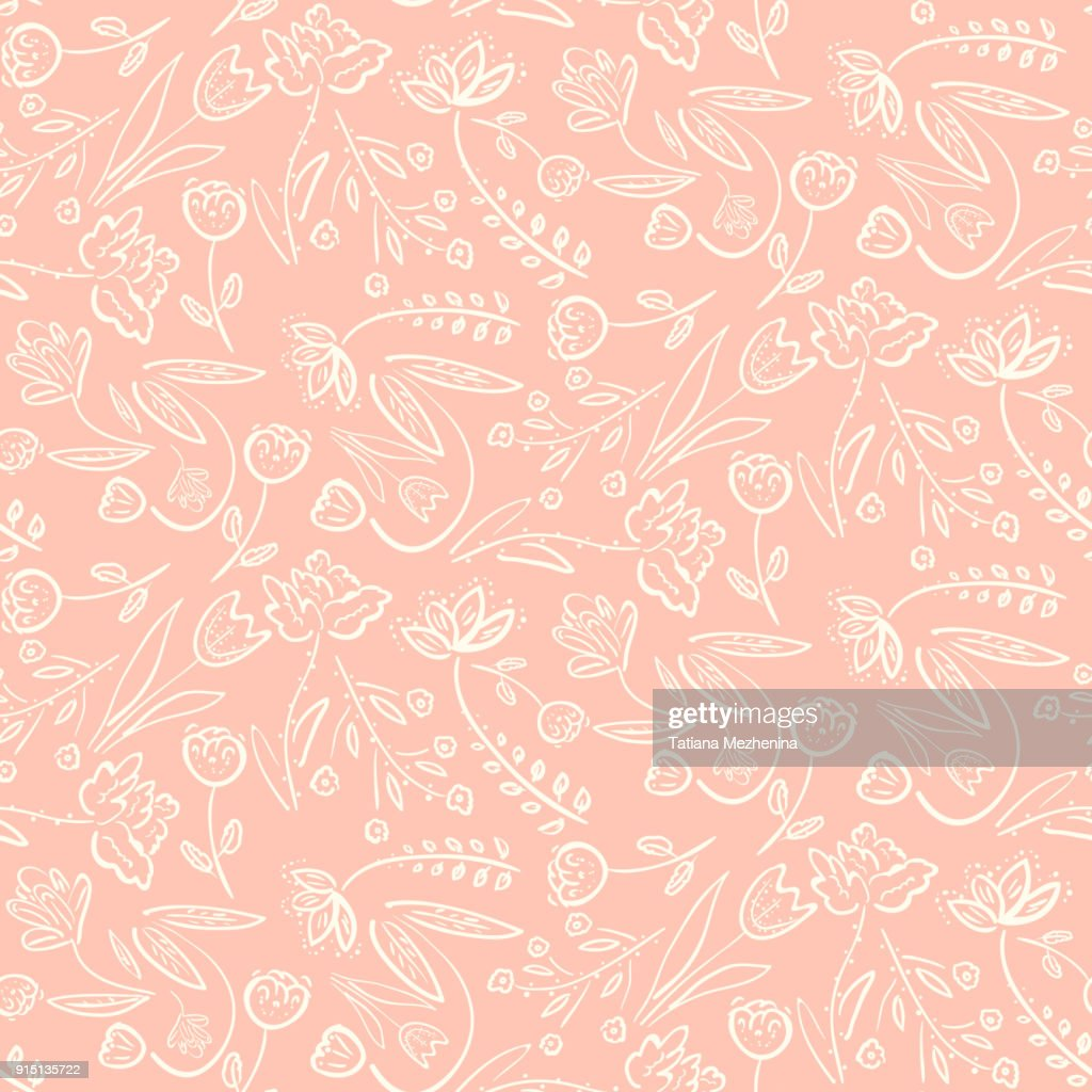 Tender pink pattern with spring hand drawn flowers