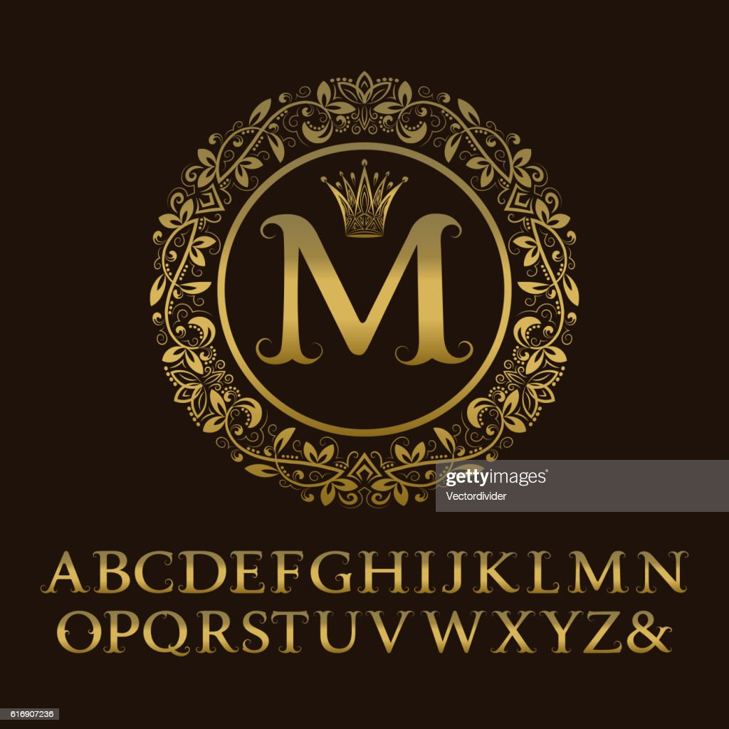 Tendrils gold letters with M initial monogram. : Vector Art