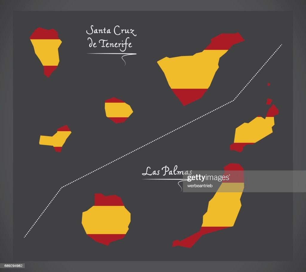 Tenerife and Las Palmas Island map with Spanish national flag illustration