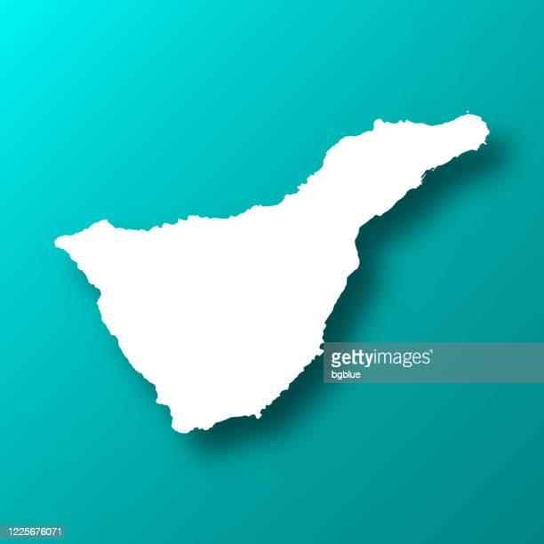 ilustraciones, imágenes clip art, dibujos animados e iconos de stock de mapa de tenerife sobre fondo verde azul con sombra - isla de tenerife