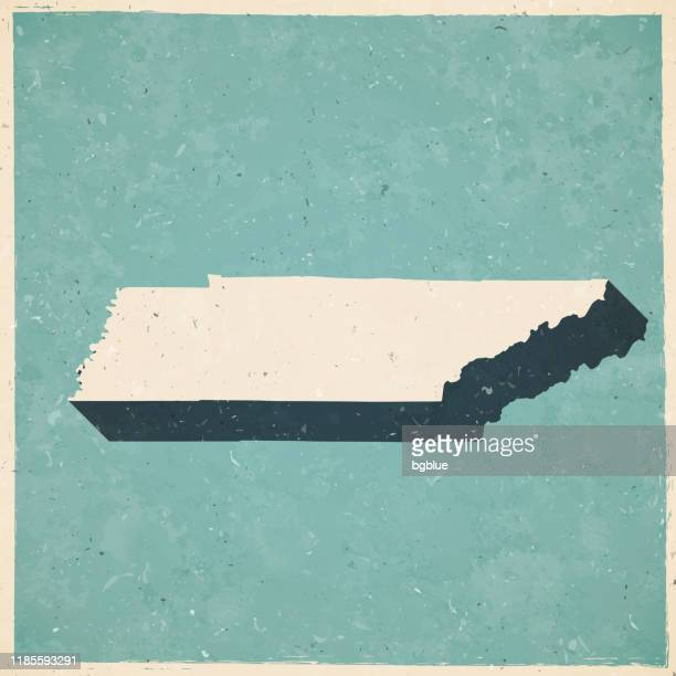 レトロなヴィンテージスタイルのテネシー州マップ - 古いテクスチャ紙 - メンフィス点のイラスト素材/クリップアート素材/マンガ素材/アイコン素材