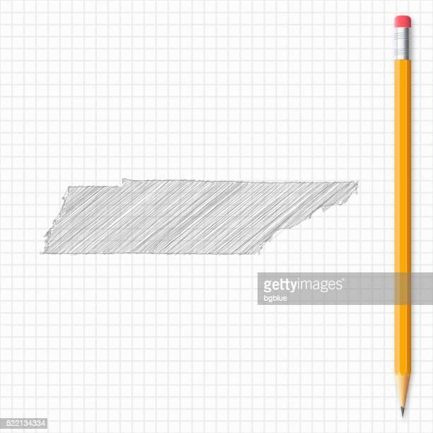 Tennessee Karte Skizze mit Bleistift auf Raster Papier