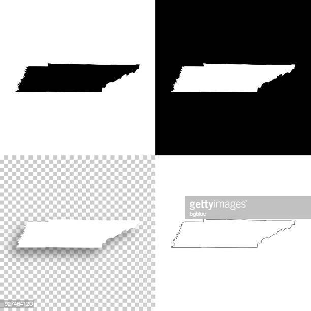 tennessee maps for design - blank, white and black backgrounds - tennessee stock illustrations