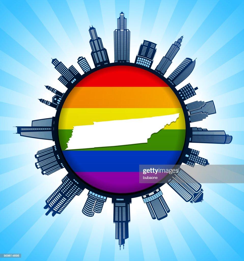 Tennessee State Karte auf Gay Pride Stadt Skyline Hintergrund : Stock-Illustration