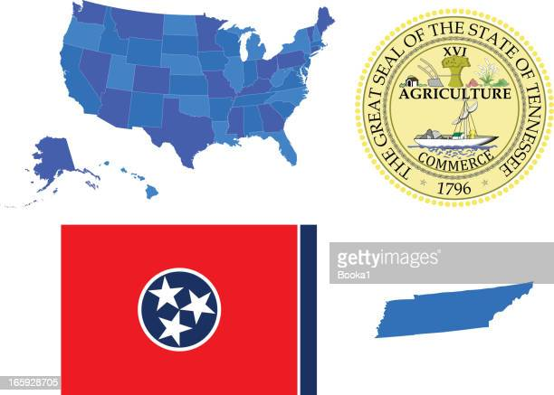 tennessee state set - tennessee stock illustrations