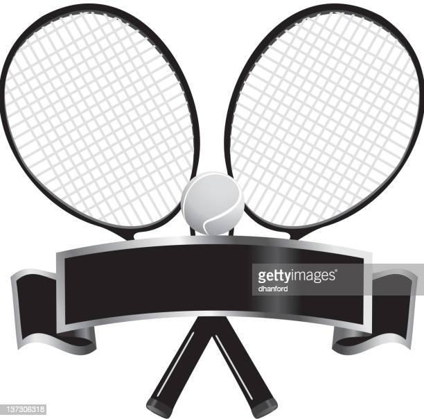 ilustraciones, imágenes clip art, dibujos animados e iconos de stock de su disposición raquetas y pelotas de tenis con banda de bw - raqueta de tenis