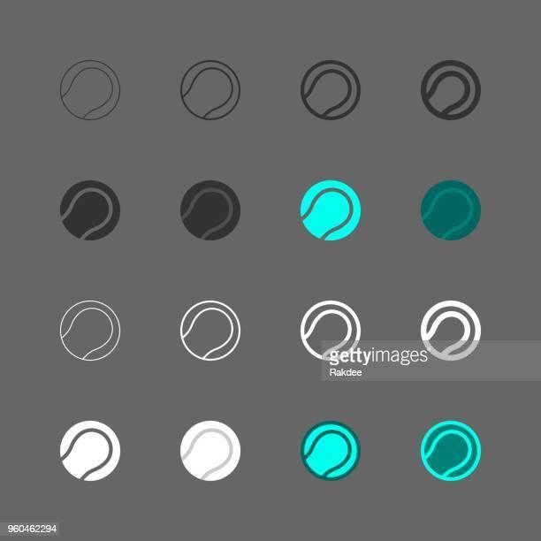 ilustraciones, imágenes clip art, dibujos animados e iconos de stock de icono de la bola de tenis - multi serie - educacion fisica