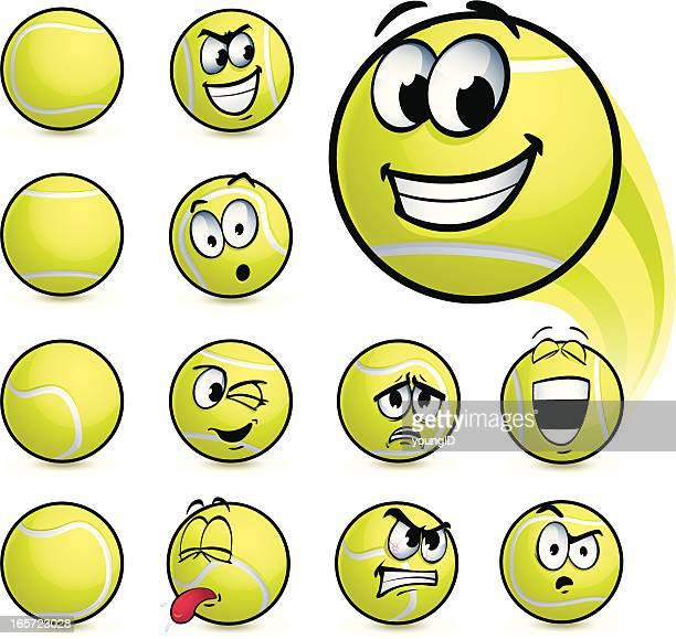 illustrazioni stock, clip art, cartoni animati e icone di tendenza di palla da tennis smiley - pallina da tennis