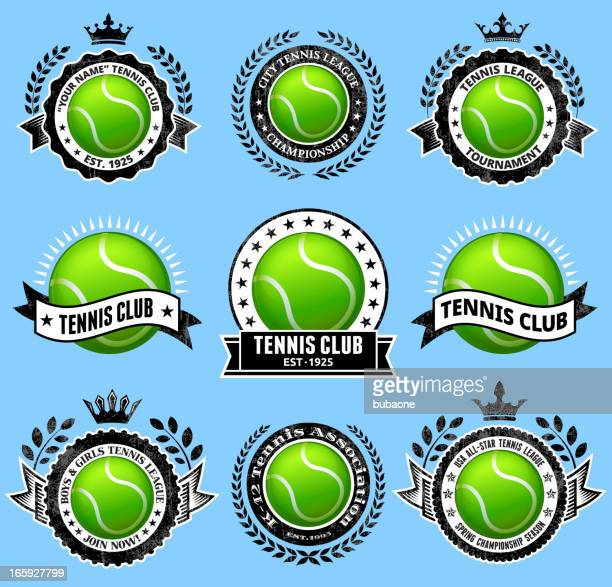 Tennis Ballblack & white Badges vector icon set