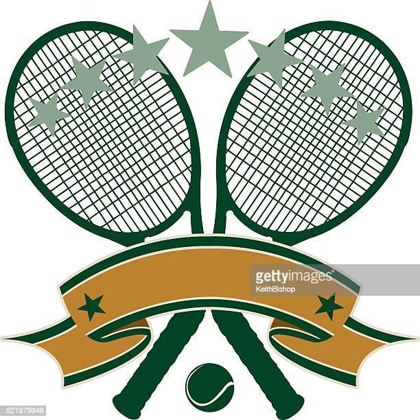 ilustraciones, imágenes clip art, dibujos animados e iconos de stock de fondo de bandera de tenis - raqueta de tenis