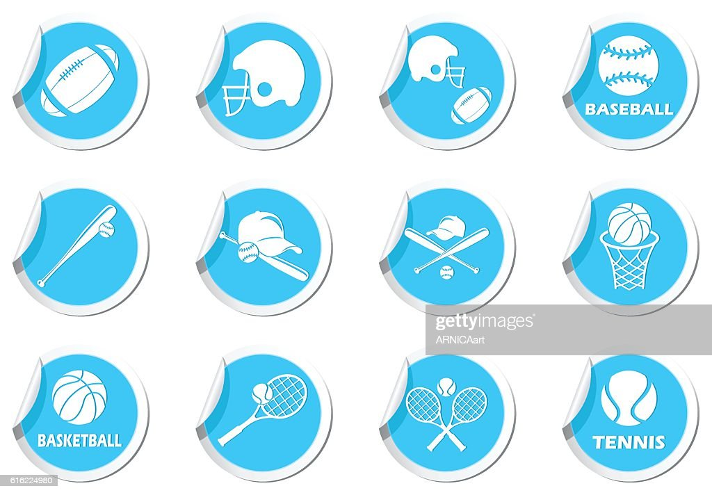 Tennis, Baseball, American football icons set : Vector Art