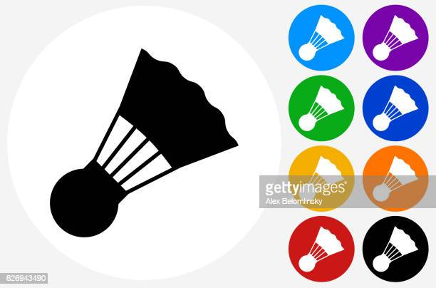 tennis birdie icon on flat color circle buttons - badminton sport stock illustrations, clip art, cartoons, & icons