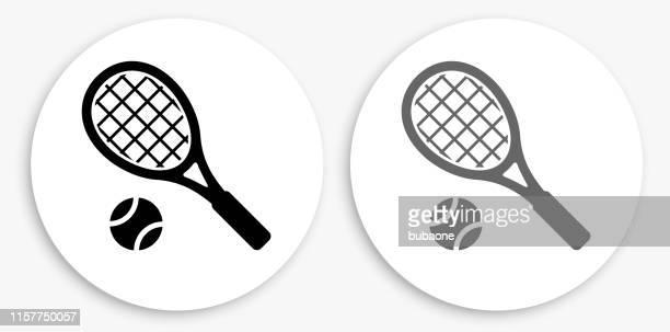 ilustraciones, imágenes clip art, dibujos animados e iconos de stock de icono redondo en blanco y negro del tenis - raqueta de tenis
