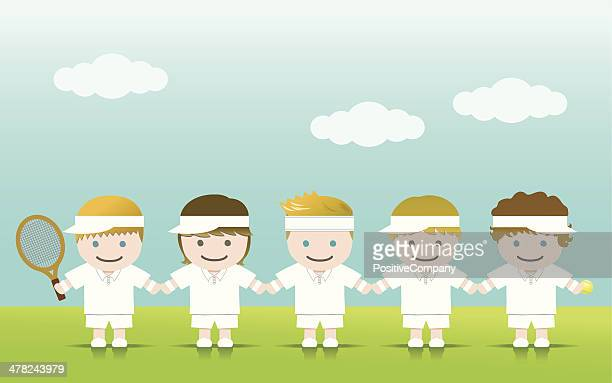 tennis boys blond brown - headband stock illustrations