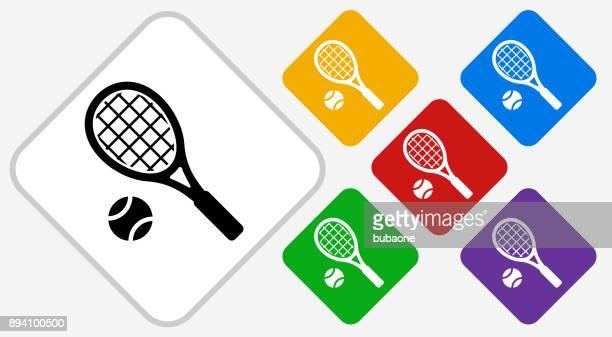 ilustraciones, imágenes clip art, dibujos animados e iconos de stock de tenis color diamante vector icono - raqueta de tenis