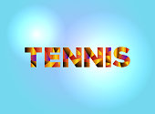 Tennis Concept Colorful Word Art Illustration