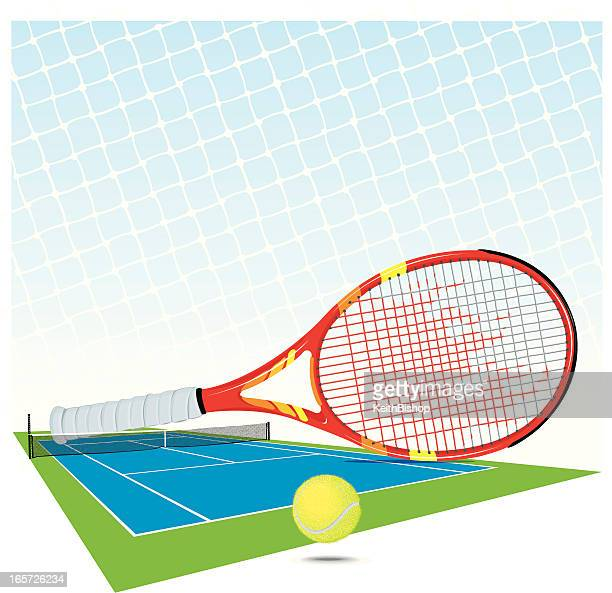 tennis court, sports racket, ball and net background - traditional sport stock illustrations, clip art, cartoons, & icons