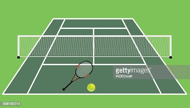 ilustrações, clipart, desenhos animados e ícones de quadra de tênis - courtyard
