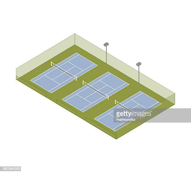 Tennis courts isometric illustration