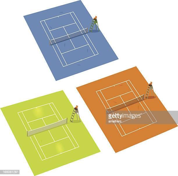 ilustrações, clipart, desenhos animados e ícones de quadras de tênis - skidding