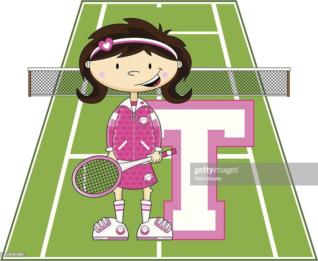 Tennis Girl Learning Letter T
