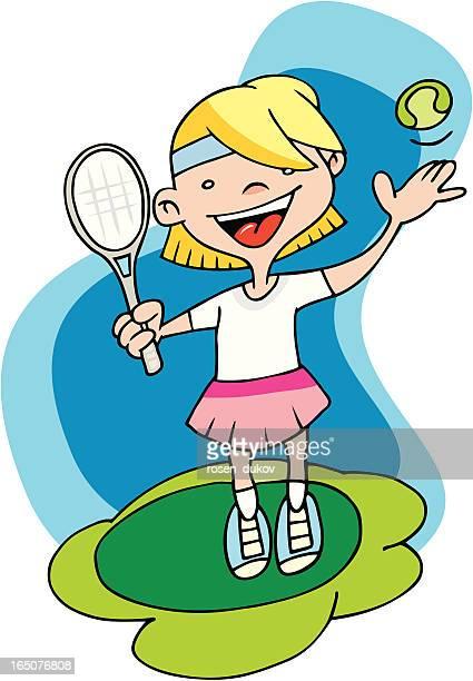 Tennis girl throwing a ball