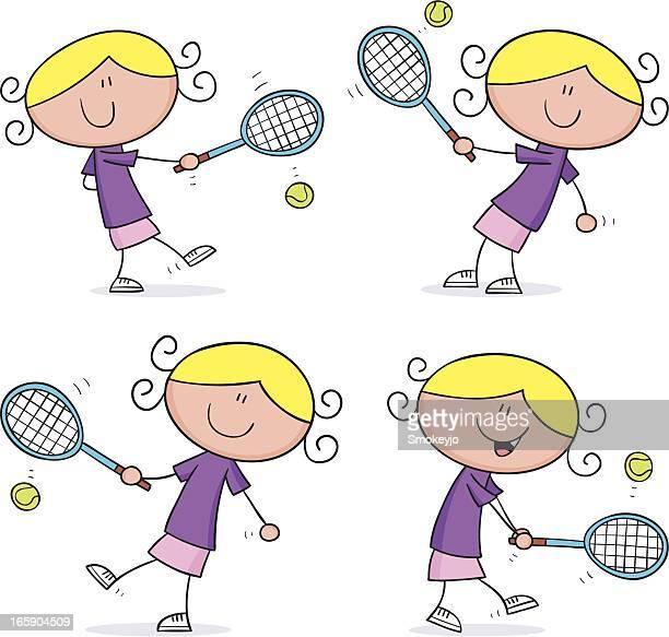 tennis girls - women's track stock illustrations, clip art, cartoons, & icons