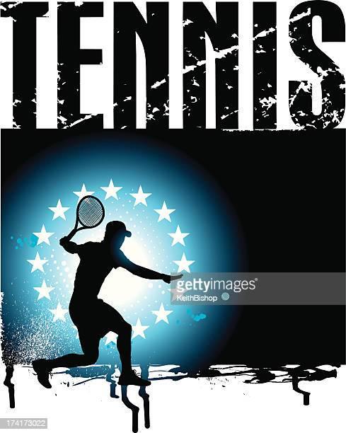 ilustraciones, imágenes clip art, dibujos animados e iconos de stock de fondo grunge de tenis masculino de voleibol - raqueta de tenis