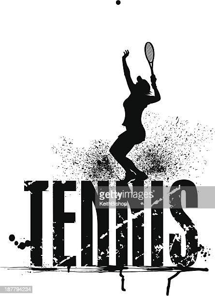 tennis grunge graphic - female serving - tennis tournament stock illustrations