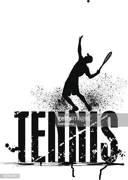 ilustraciones, imágenes clip art, dibujos animados e iconos de stock de grunge gráfico de tenis masculino que sirve - raqueta de tenis
