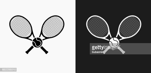 tennis icon on black and white vector backgrounds - tennis stock illustrations