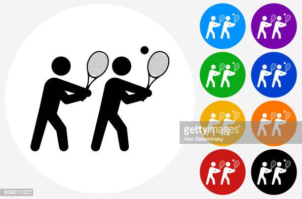 tennis icon on flat color circle buttons - sports organization stock illustrations, clip art, cartoons, & icons