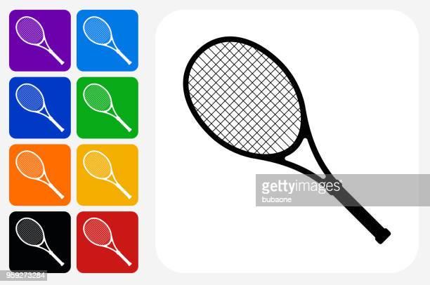 ilustraciones, imágenes clip art, dibujos animados e iconos de stock de tenis icono cuadrado botón set - raqueta de tenis