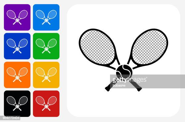tennis icon square button set - tennis stock illustrations