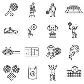 Tennis, line icons set. Editable stroke.