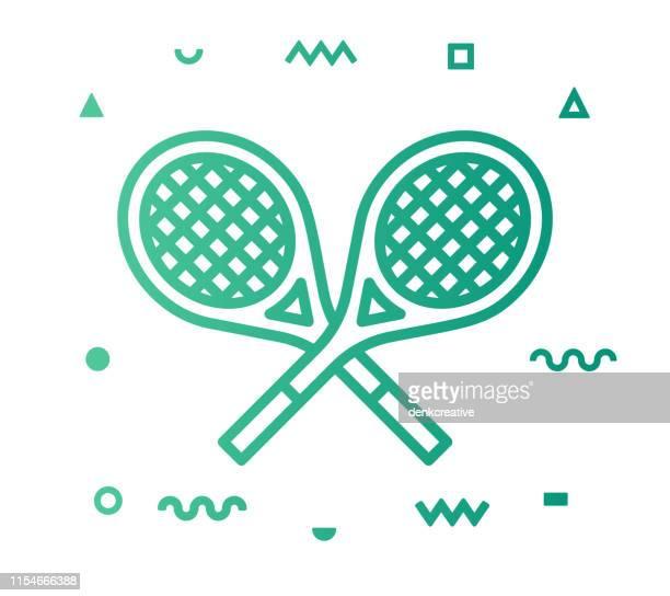 ilustraciones, imágenes clip art, dibujos animados e iconos de stock de estilo de línea de tenis icono diseño - raqueta de tenis