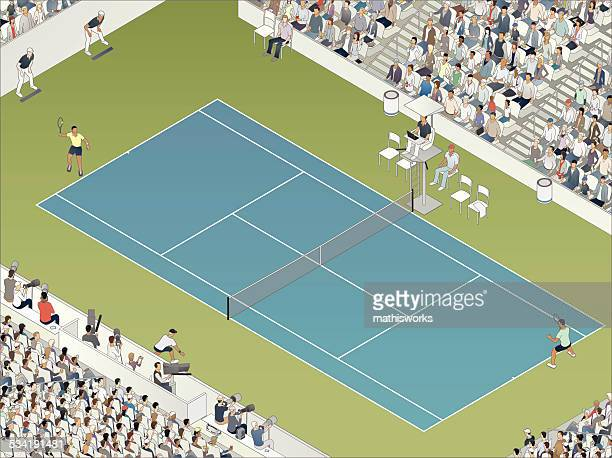 tennis match illustration - match sport stock illustrations, clip art, cartoons, & icons