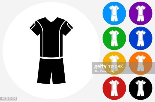 tennis outfit icon auf flache farbe kreis knöpfe - trikot stock-grafiken, -clipart, -cartoons und -symbole