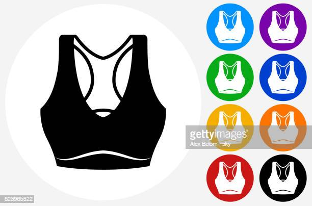 Tennis Outfit Icon on Flat Color Circle Buttons
