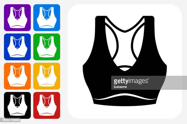 tennis outfit icon square button set - bra top stock illustrations