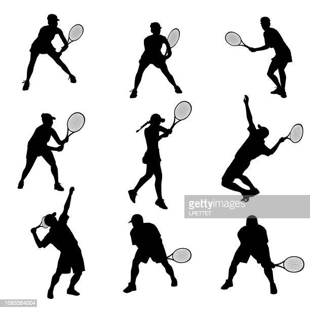 tennis outline - tennis stock illustrations