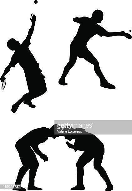 tennis und ping-pong-spieler und wreslers - einzelveranstaltung stock-grafiken, -clipart, -cartoons und -symbole