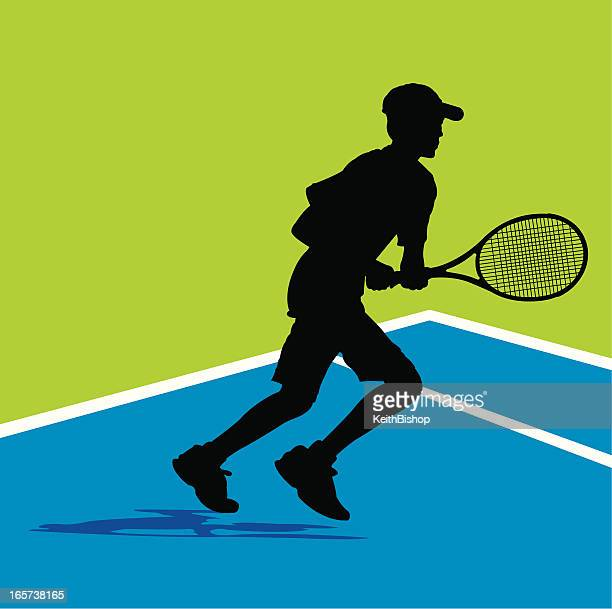 tennis player background - running down ball, young male - tennis tournament stock illustrations