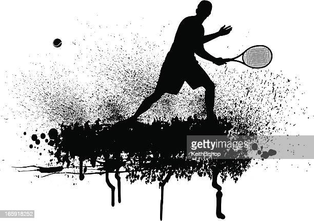 tennis player grunge graphic - traditional sport stock illustrations, clip art, cartoons, & icons