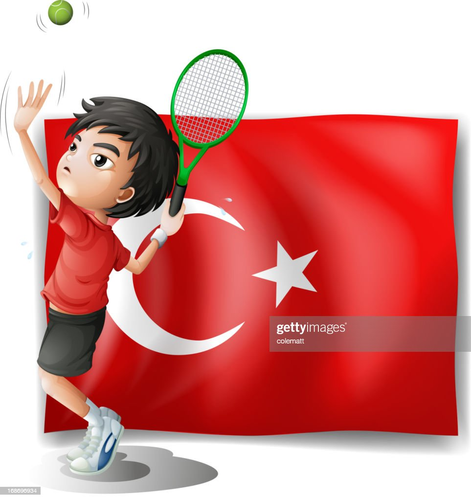 Tennis player in front of the flag Turkey